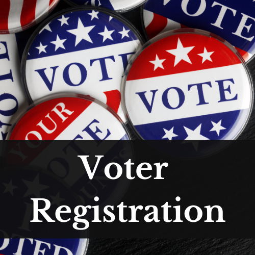 """An image of a collection of buttons that say """"vote"""" with a red top border and blue bottom border and stars on each border. The words Voter Registration are over the bottom portion of the image."""