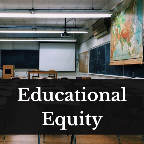 An image of a classroom surrounded by green chalkboards, with desks, a map on the side, and an open projector screen in the background. Over the bottom portion of the image are the words Educational Equity data-id=